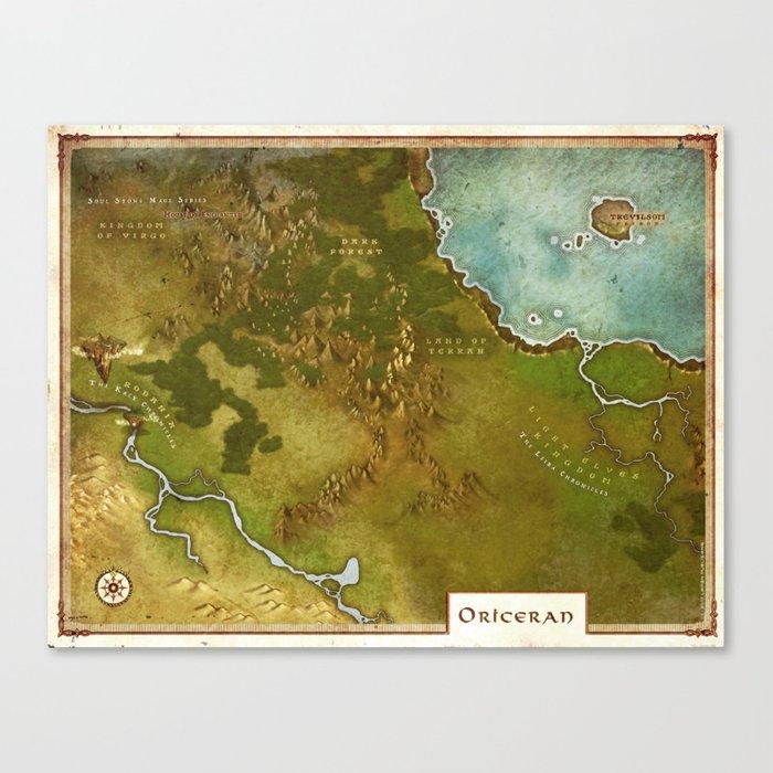 Oriceran Map Canvas Print